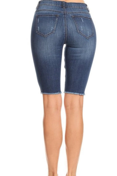 Kirby Bermudas with Raw Edge in Medium Denim