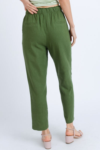 Lois Tie Front Solid Pants in Olive