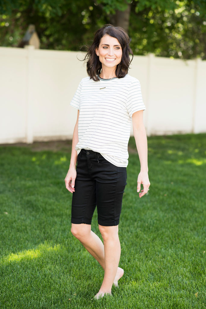 Marin Stripe Knit Top in Ivory & Black