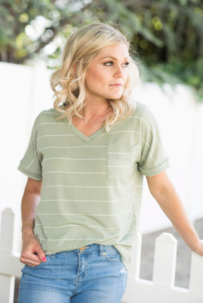 Kristi V Neck in Sage Green