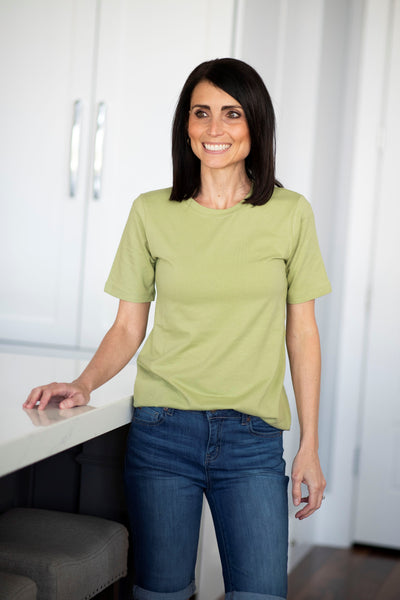 Alta Basic Round Neck Tee in Sage