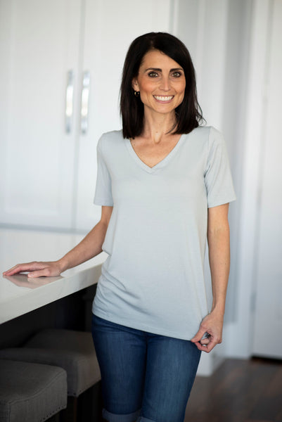 Becca V Neck in Grey Mist