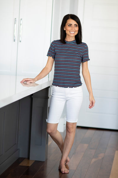 Jewel Stripe Top in Navy & Red