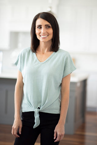 Mika Tie Front Top in Sage
