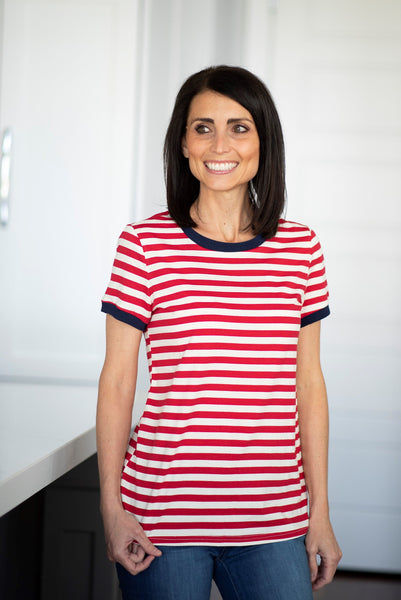Angela Stripe Tee in Red