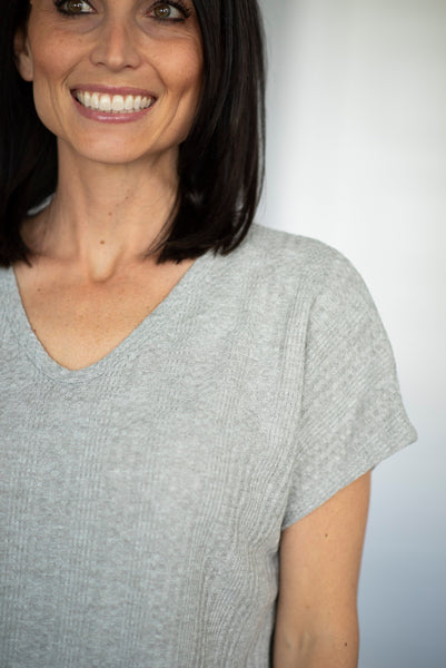 Dallia Textured V Neck Top