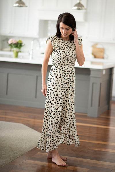 Allyson Leopard Smocked Dress