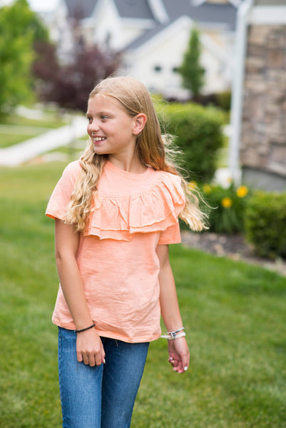 Addie Asymmetrical Ruffle Top in Peach