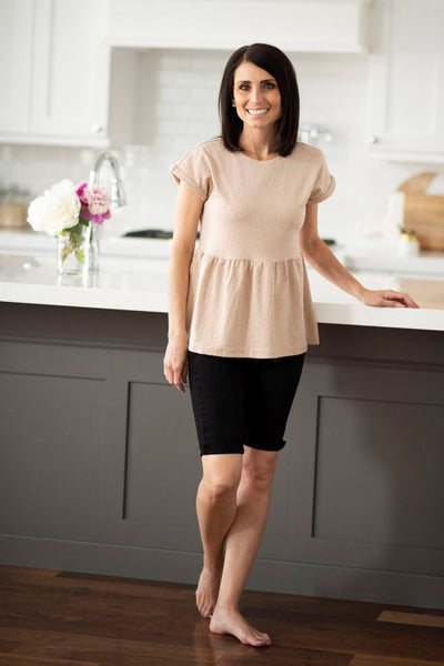 Sylvie Peplum Top in Natural