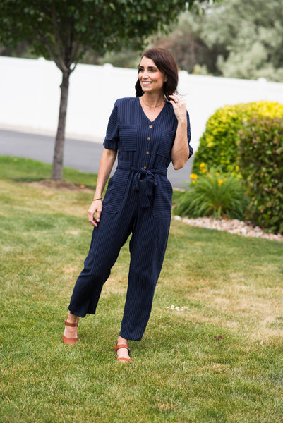 Dallas Jumpsuit in Navy Stripe