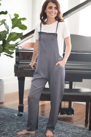 Billie Tie Strap Jumpsuit in Slate