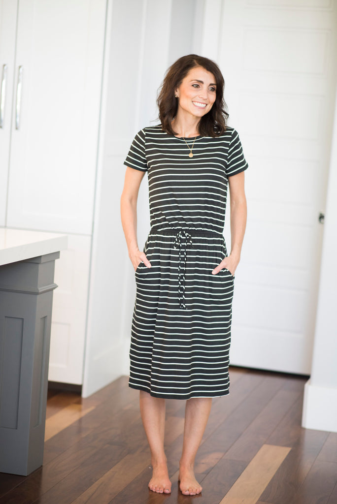 Ezra Elastic Waist Dress in Black Stripe