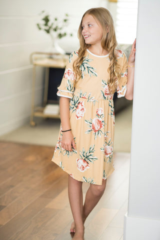 Aubrie Bell Sleeve Floral Dress for Girls