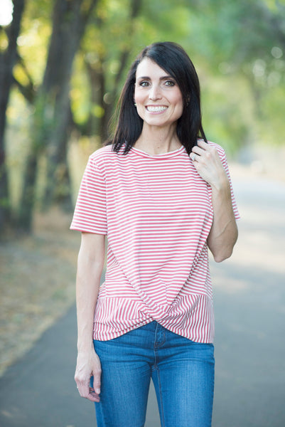 Quincy Stripe Knot Front Top