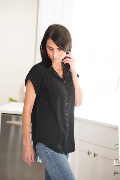 Raymond Button Down Top in Black