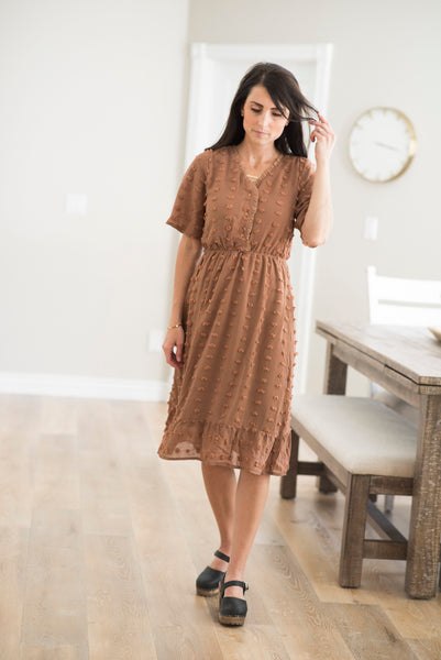 Annalisa Pom Pom Button Up Dress in Rust