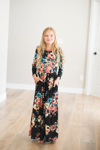 Camden Floral Maxi Dress in Black