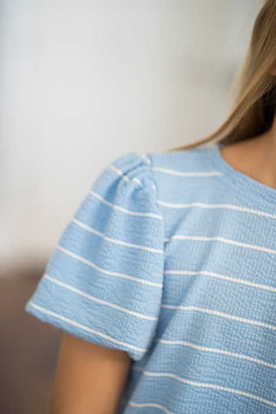Jayla Stripe Puff Sleeve Top in Blue