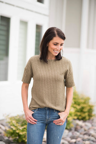 Rudy Ribbed Top in Olive