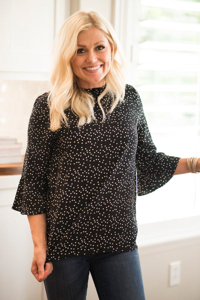 Juliette Ruffle Sleeve Dot Top