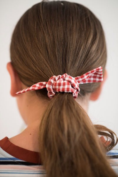 Red Gingham Tie Scrunchie
