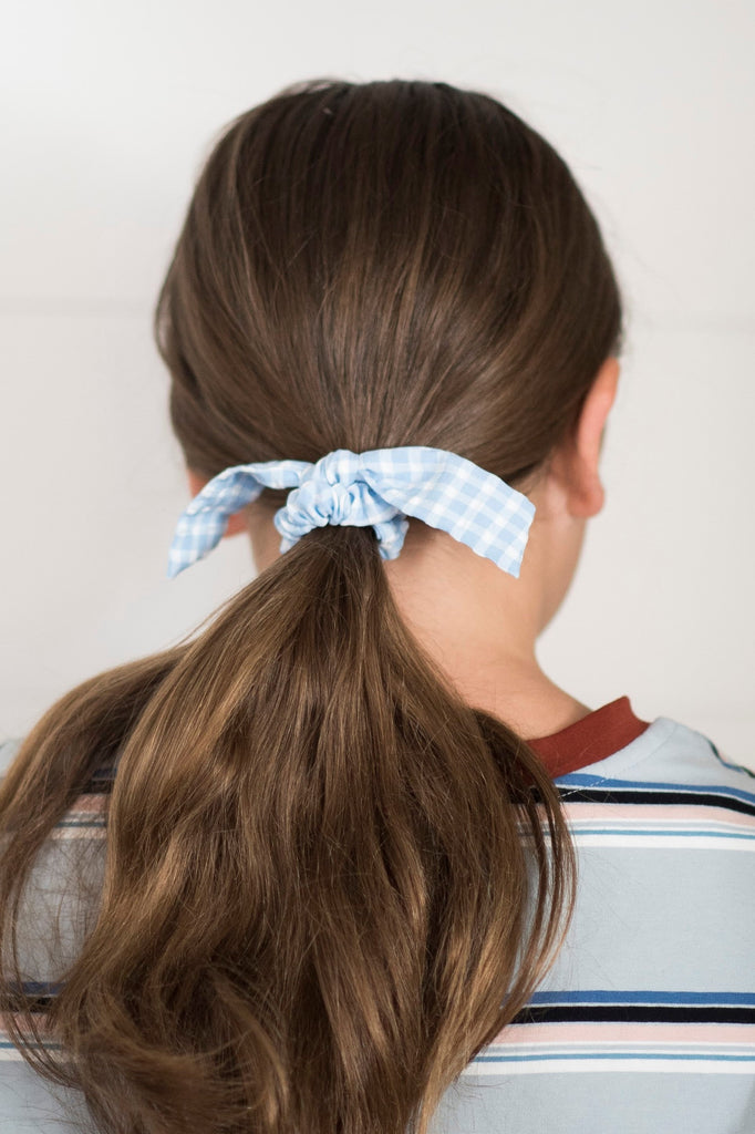 Blue Gingham Tie Scrunchie