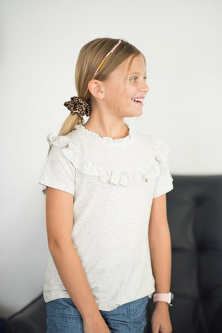 Amaya Ribbed Ruffle Mock Neck Top in Grey