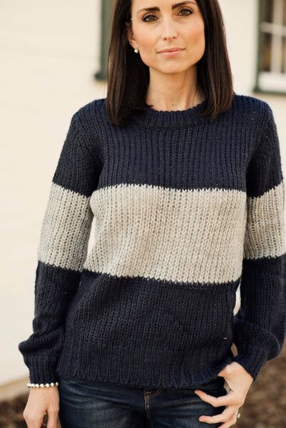 Jacee Color Block Sweater in Navy & Grey