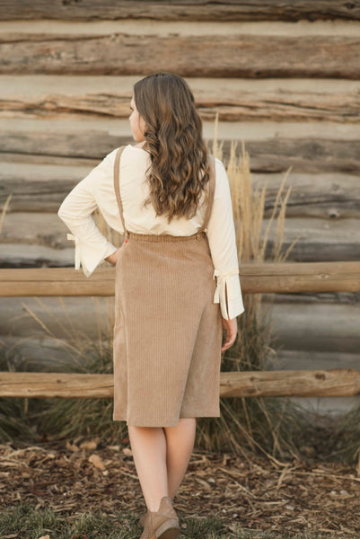 Brooke Corduroy Overall Dress in Camel