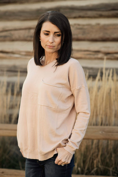 Tessa V Neck Sweater in Dusty Pink