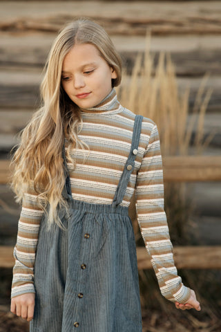 Henley Stripe Knit Turtleneck Top