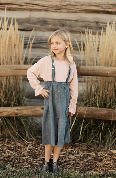 Brooke Corduroy Overall Dress in Blue