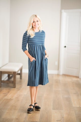 Lyla Babydoll Stripe Dress in Blue