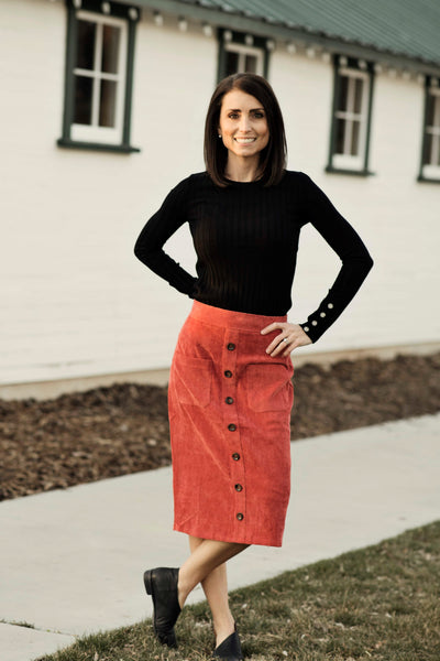 Anna Corduroy Button Skirt in Marsala