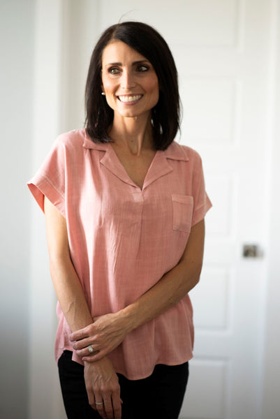 Carmen Pocket Top in Mauve