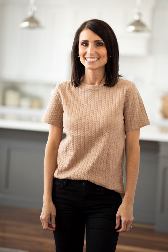 Tasha Textured Top in Taupe