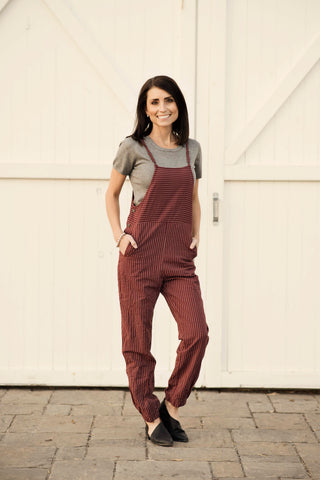 Jillian Stripe Overalls in Burgundy