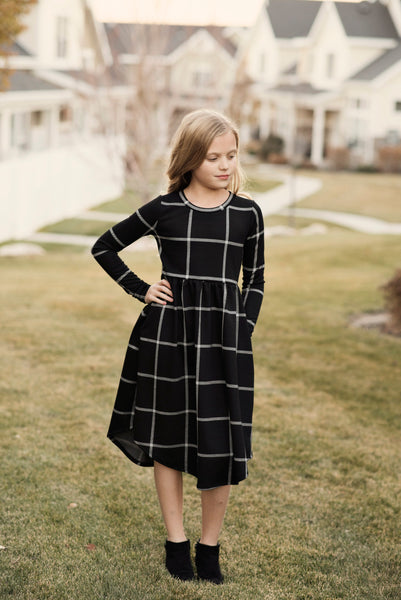 Rachel Checkered Dress in Black for Girls
