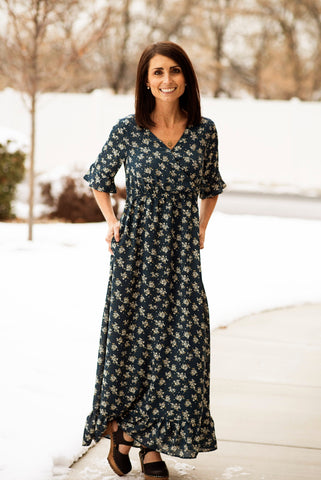 Ruffle Sleeve Floral Maxi in Navy