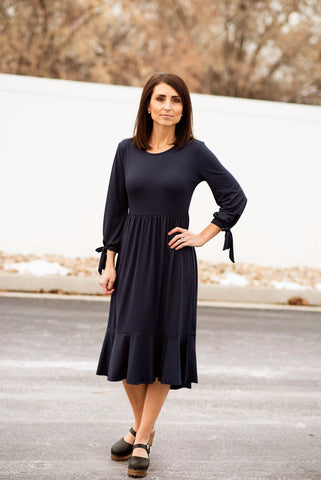 Tie Sleeve Midi Dress with Ruffle Hem