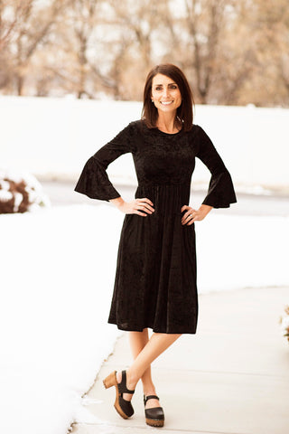 Tidwell Fit & Flare Crushed Velvet Dress