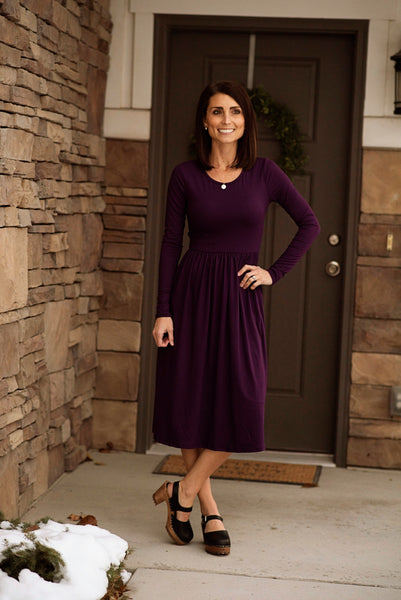 Lilo Long Sleeve Solid Midi Dress