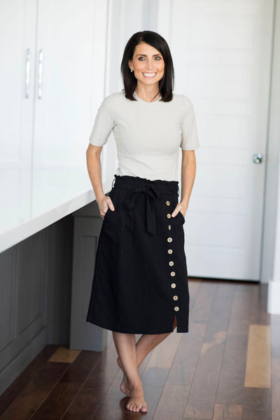 Channing Button Down Skirt in Black