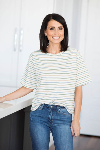 Britan Stripe Top in Blue