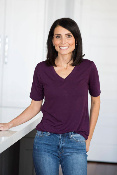Becca V Neck in Dark Plum