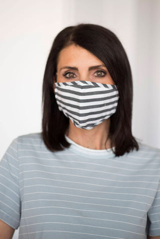Women's Non-Medical Stripe Mask in Black