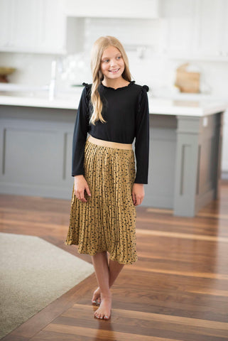 Girls Leopard Pleated Skirt