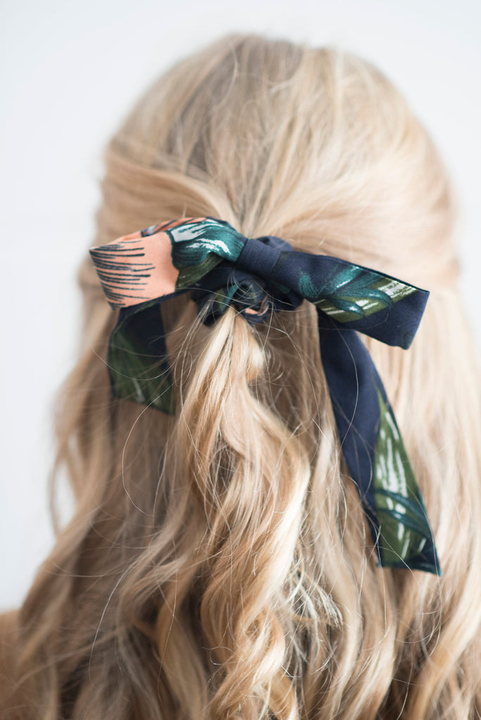 Navy Floral Bow Scrunchie