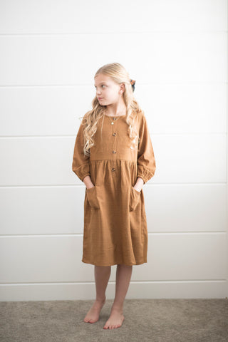 Eloise Button Down Dress in Camel