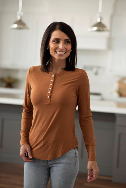 Mabel Ribbed Long Sleeve in Rust